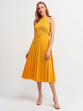 Flared Skirt And Crop Top Combo Yellow