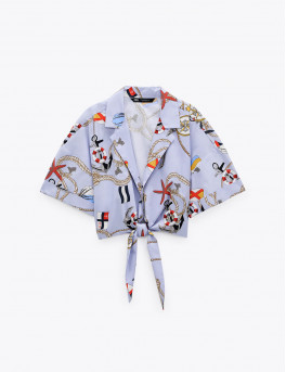 Cropped printed shirt with lapel collar