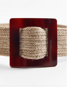 Jute belt with contrast square buckle