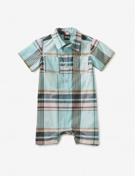 Plaid Buttoned Baby Romper